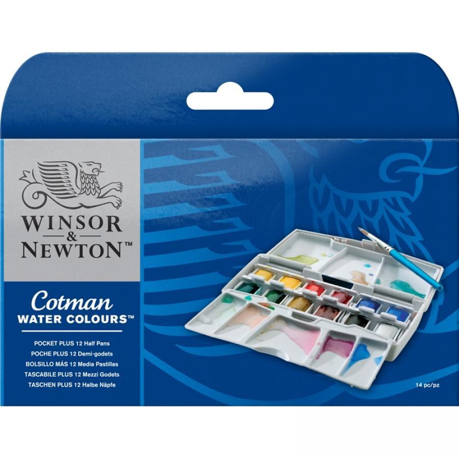 Winsor Newton Cotman Akvarel Pocket plus 12 Stk